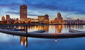 downtown Milwaukee, WI at night accross the water | Wauwatosa Personal Injury Lawyers